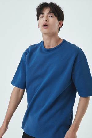 DOUBLE COTTON OVER FIT T-SHIRT(PERSIAN BLUE)