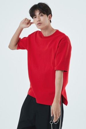 DOUBLE COTTON OVER FIT T-SHIRT(RED)