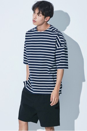 REVERSE STRIPE OVER FIT T-SHIRT(NAVY/WHITE)