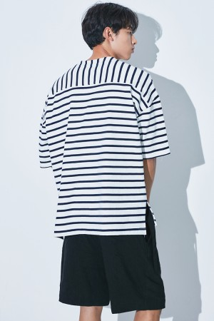REVERSE STRIPE OVER FIT T-SHIRT(WHITE/NAVY)