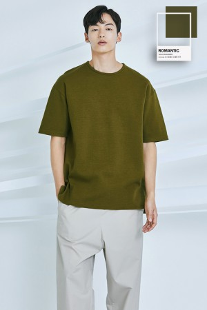 C.r.e.a.m SEMI OVER FIT T-SHIRT(OLIVE GREEN)